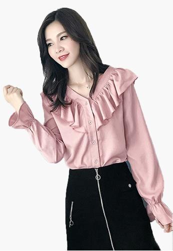 Halo pink OL Ruffle Long Sleeves Blouse F6175AA0510808GS_1