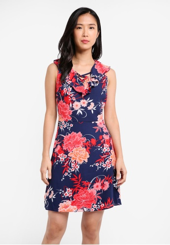 Dorothy Perkins navy Cny: Floral Lace Up Fit And Flare DO816AA0SKS3MY_1