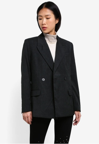 Mango grey Double-Breasted Suit Blazer MA193AA0RVZCMY_1
