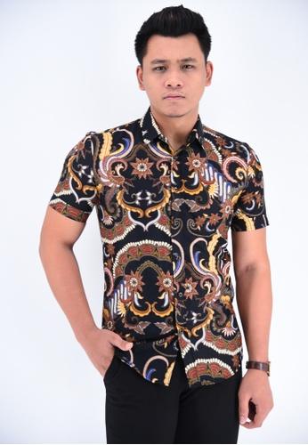 UA BOUTIQUE black Short Sleeve Shirt Batik RBS05-012 (Black/ Yellow) 5D989AA5AC0D2CGS_1