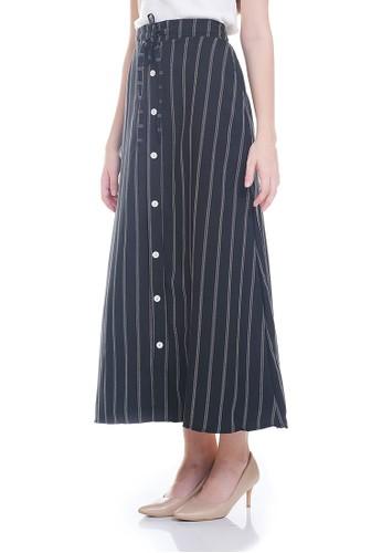 JOYFULIE black Mykha Stripes Skirt Black 0221DAA74C1A5DGS_1