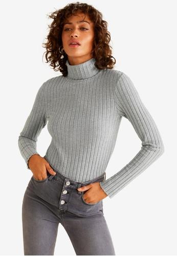 Mango grey Ribbed High Neck T-Shirt 2EA2DAA456348BGS_1