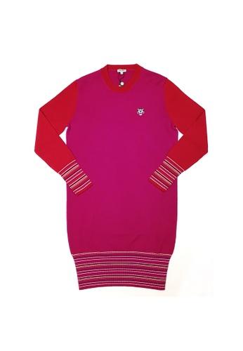 Kenzo red Kenzo Tiger Badge Striped Cuffs Jumper Dress in Medium Red 3985EAA1B3AB11GS_1