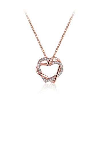 Glamorousky white Plated  Rose Gold Heart Pendant with Austrian Element Crystal and Necklace 74598AC5AF284FGS_1