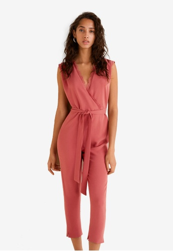 Mango pink Lace V-Neckline Jumpsuit 0796EAAE0DA3AAGS_1