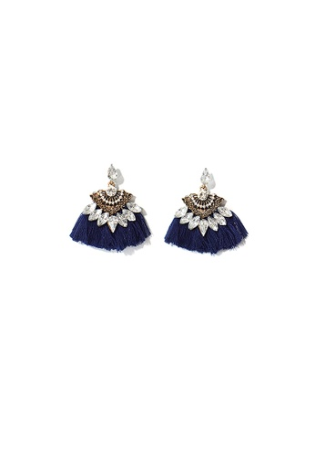 FAWNXFERN blue and silver Fan Tassel with Faux Rhinestone Earrings in Navy 333BCAC22AF794GS_1