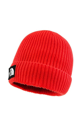 The North Face red The North Face Unisex TNF Logo Box Cuffed Beanie Flare CE5A5ACFE73EB0GS_1