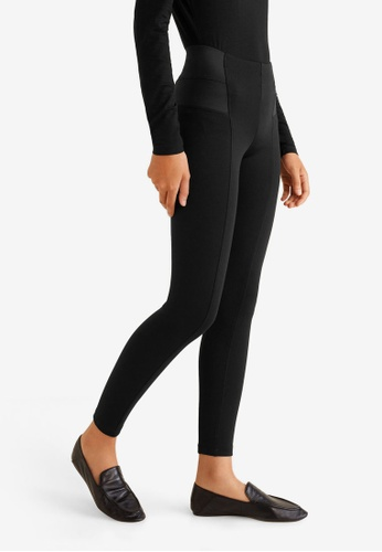 Mango black Elastic Panels Leggings D4D25AA0913E1CGS_1