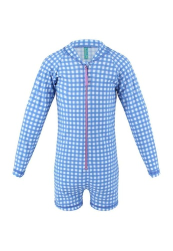 FUNFIT blue UPF50+ Junior Sunsuit (Unisex) in Gingham Summer Print 2A81AKA03D0CC3GS_1