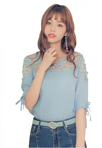 Yoco blue Lace Mesh Chiffon Top 63A22AA765C987GS_1