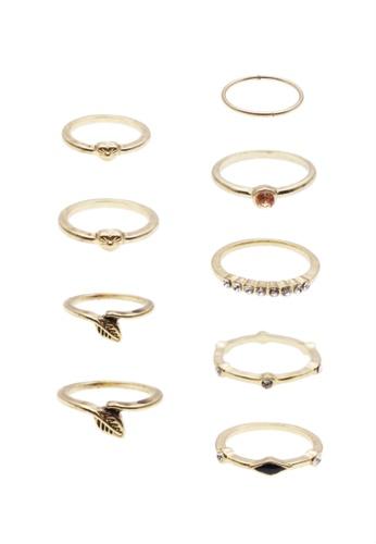 LUCCACAL gold 9 x Leaf & Rhinestone Ring Set LU294AC0SHKVMY_1