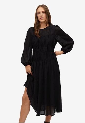 Mango black Flowy Pleated Dress 7BBB3AAEBA7553GS_1
