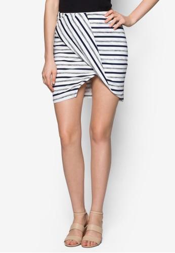 反褶開叉條紋zalora時尚購物網的koumi koumi短裙, 服飾, 服飾