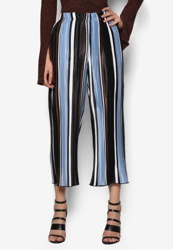 條紋褶飾寬長esprit outlet hong kong褲, 服飾, 服飾