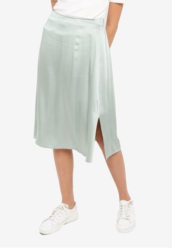 ICHI grey Hattie Banded Midi Skirt C435FAAF585C82GS_1