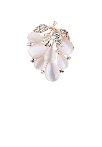 Glamorousky white Fashion and Elegant Plated Gold Grape Opal Brooch with Cubic Zirconia 31394AC987DABAGS_1