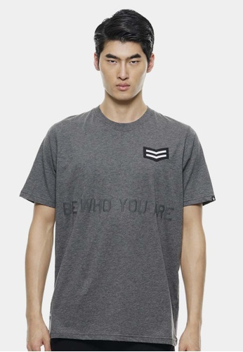 Private Stitch grey Oversize T-Shirt Badge with Slogan Design PR777AA23ROAMY_1