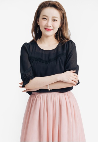 Yoco black Sweetheart Detail Blouse 275C4AAEA7419DGS_1