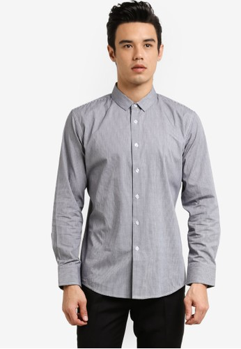 ZALORA grey Formal Checked Long Sleeve Shirt AC3EFAAF921742GS_1