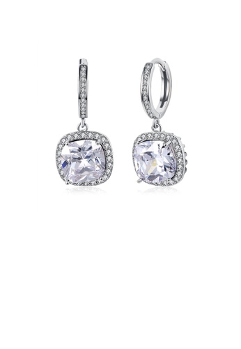 Glamorousky white Fashionable Elegant Square Cubic Zircon Earrings 21E90AC01B7301GS_1