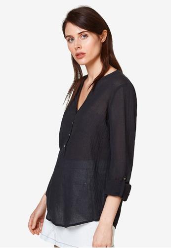 ESPRIT black Woven Long Sleeve Blouse 5A9E9AA4D97D24GS_1