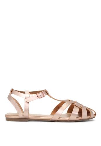 London Rag 粉紅色 LONDON RAG 女式玫瑰金平底条带凉鞋 5CA7CSHC0BA144GS_1