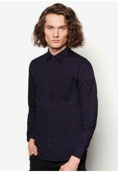 Coated Ikat Denim Sleeve Insert Shirt