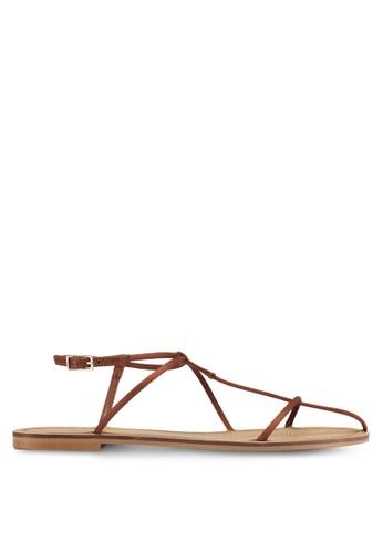 Mango brown Decorative Strap Sandals A3062SH637859DGS_1