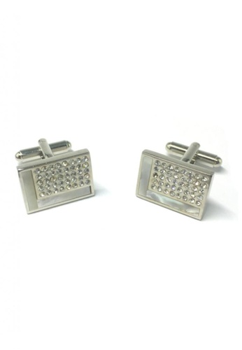 Splice Cufflinks silver White L Design and Crystals Rectangular Cufflinks   SP744AC48DPZSG_1