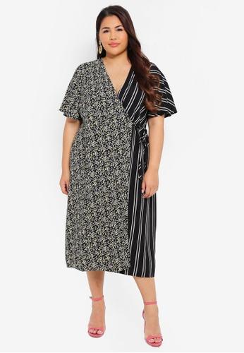 LOST INK PLUS multi Plus Size Dress With Floral & Stripe Mix 99C38AA0D99732GS_1