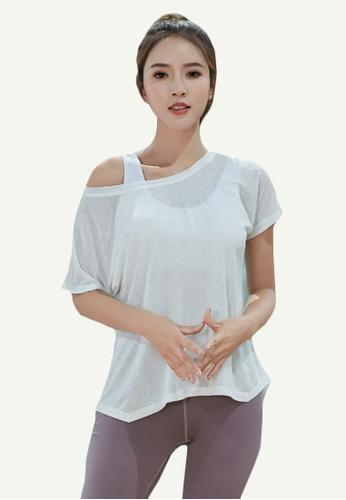 B-Code white ZYG5085-Lady Quick Drying Running Fitness Yoga Sports Bra, Top and Leggings Three Pieces Set-White C6117AA5C9CA0CGS_1