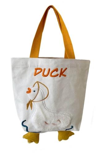 Sunnydaysweety white Embroidered Duckling Canvas Handbag A092504W D237DACD1E190DGS_1
