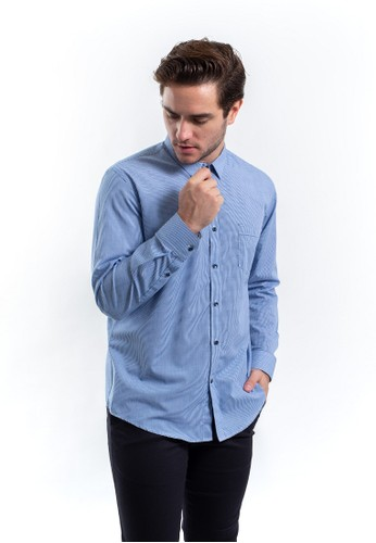 MANLY blue MANLY Horovits Blue Slim Fit Striped Shirt D555AAA4F0C5D4GS_1