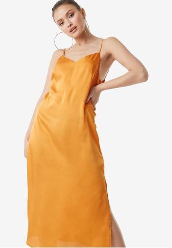 NA-KD 黃色 綢緞Slip 洋裝 6AAB9AA4C896BBGS_1