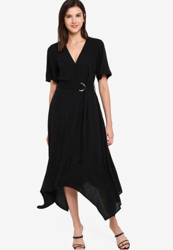 Banana Republic black V-Neck Ring Wrap Maxi Dress 17DDBAA64ACC84GS_1