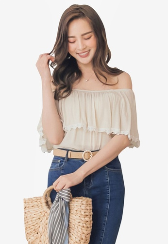 Yoco beige Crochet Trim Layered Top E1FCBAA25D050AGS_1
