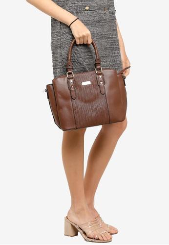 Unisa brown Deboss Convertible Multi-Compartment Top Handle Bag 58343AC8E6D787GS_1