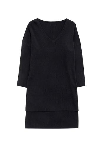 KLAPS black V-neckline Long Sweater 7E01DAA3BEA796GS_1
