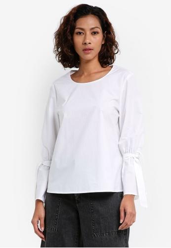 ESPRIT white Woven Long Sleeve Blouse 3829BAA26B2DD4GS_1
