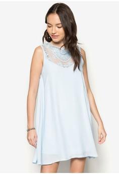 Placement Lace Yoke Swing Dress
