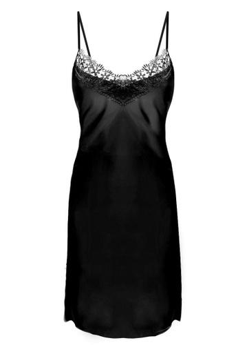 SMROCCO black Isla Silk Spagetti Strap Dress Nightie Sleepwear PM8056-B 6DC36AAAF855D2GS_1