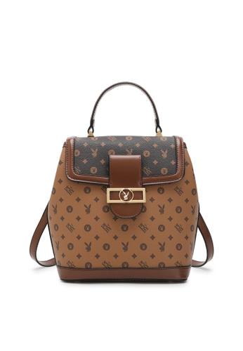 PLAYBOY BUNNY brown Women's Monogram Printed Backpack 9E7D1AC98E4320GS_1