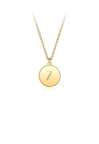 Glamorousky silver Fashion Simple Plated Gold Letter Z Round Pendant with Necklace 73E45ACD5C82D0GS_1