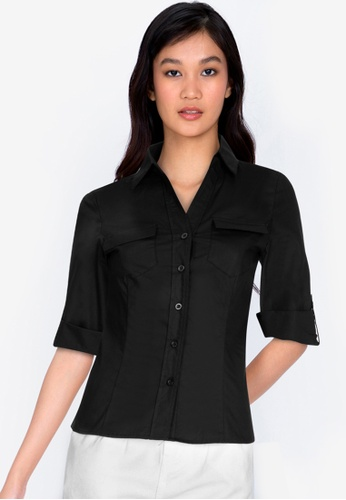 ZALORA BASICS black Chest-Pocket Shirt 52706AA6A58E2AGS_1