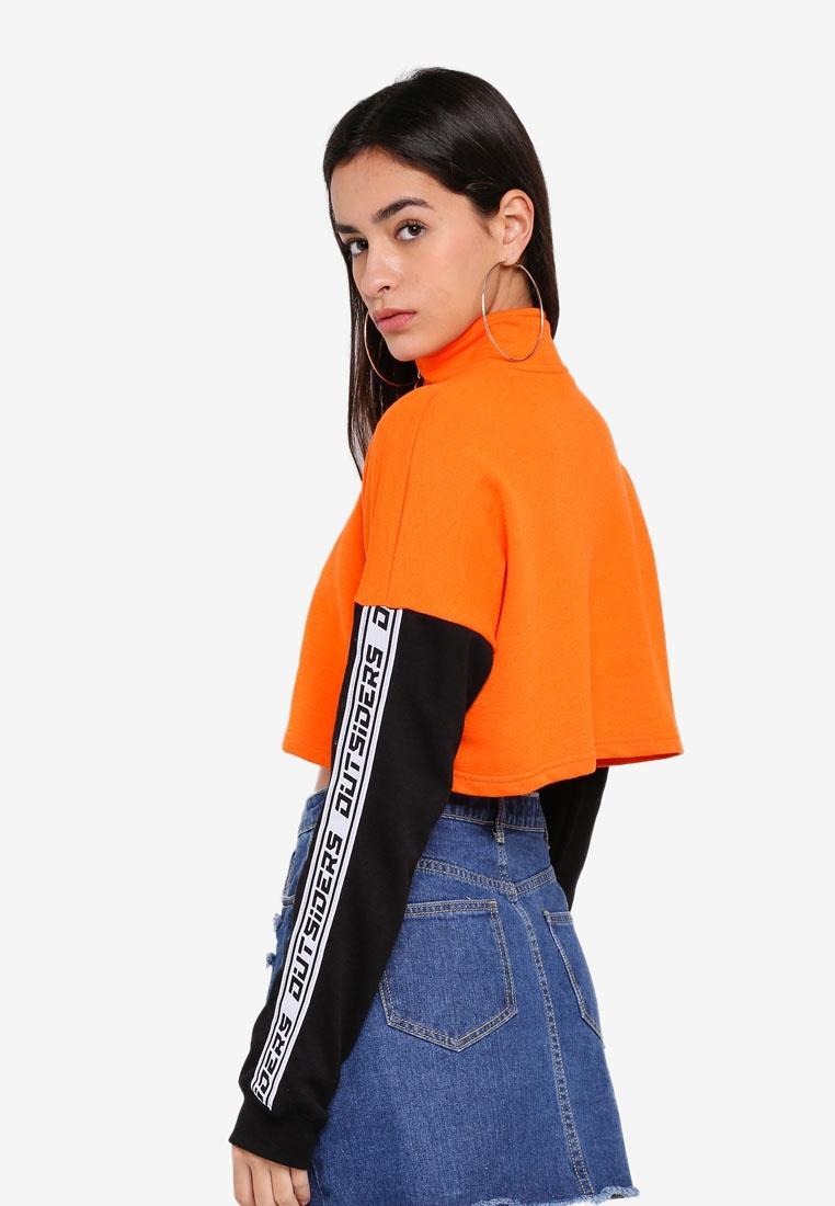 Factorie Body Puffins Jumper Bill Crop Zip Black Neck Sleeves Funnel 0gwR0rq
