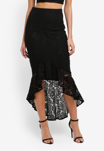 MISSGUIDED black Lace Fishtail Midi Skirt BFF75AA47DEDE5GS_1
