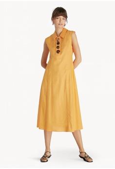d85260c9d10 Pomelo orange Premium Midi Sleeveless Shirt Dress - Orange  00F03AA7B17227GS 1