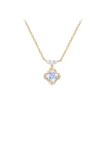 Glamorousky white 925 Sterling Silver Plated Gold Fashion and Elegant Four-leaf Clover Pendant with Cubic Zirconia and Necklace 084A5ACFA68EC6GS_1