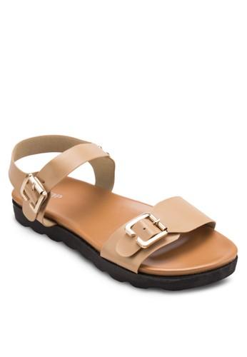 雙扣環繞踝涼鞋, 女zalora 手錶鞋, 涼鞋