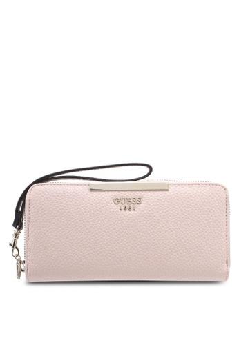 Guess pink Lou Lou Large Zip Around Wallet 04435ACAAEE933GS_1